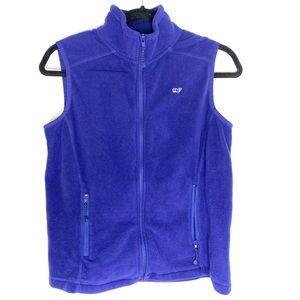 Vineyard Vines blue fleece zip up Vest whale logo